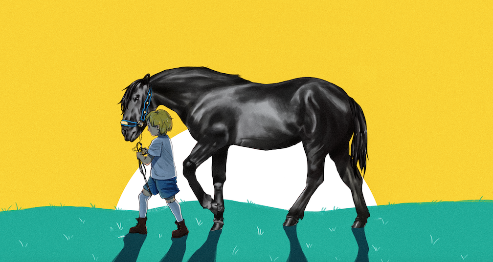 Horse and child illustration
