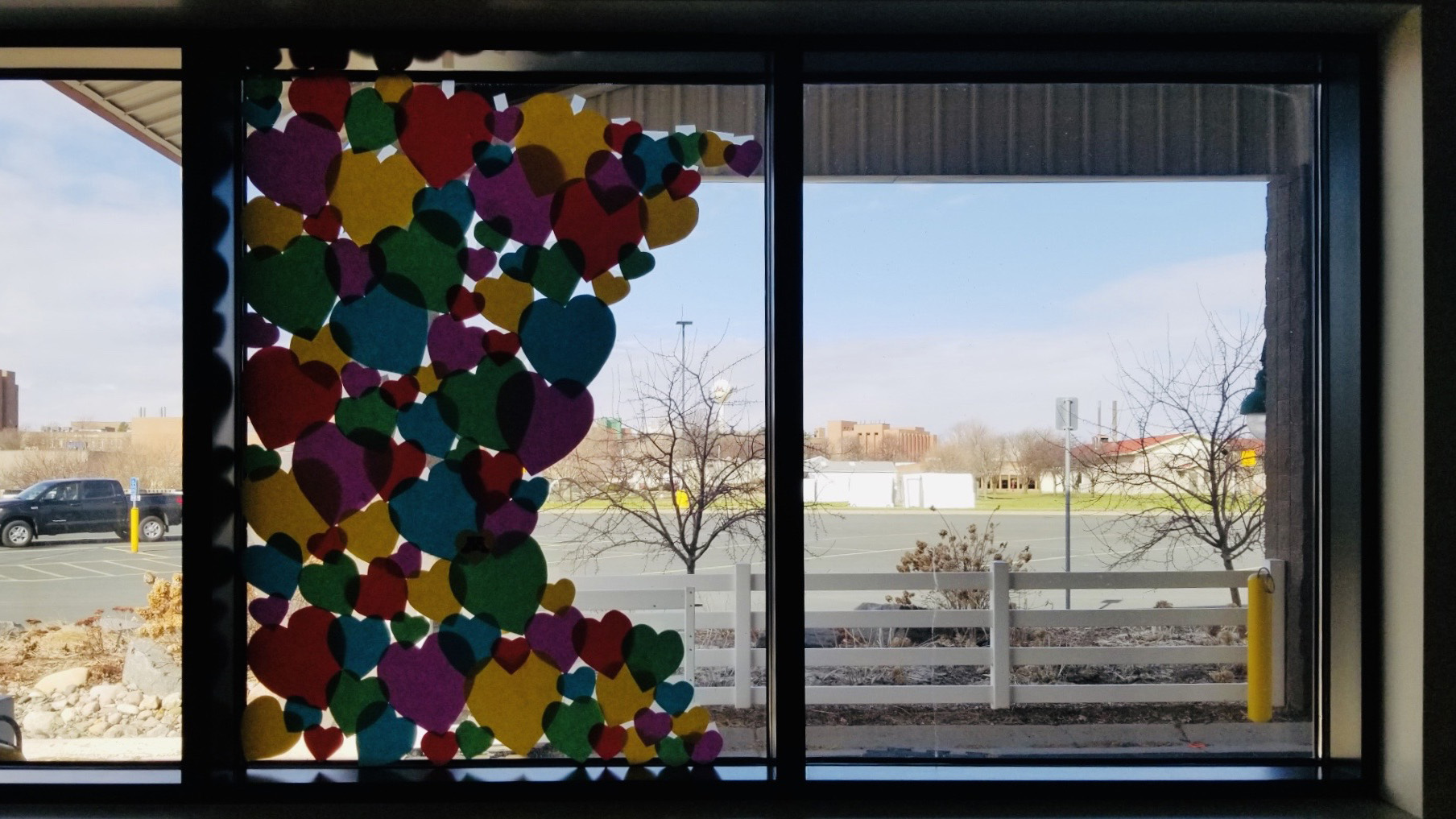 The window at Piper Equine Hospital during COVID-19