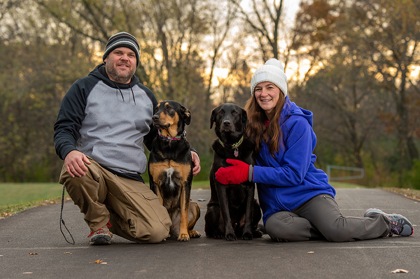 Chris and Jill Carter enjoying their time together with their labradors, Holly and Rudy
