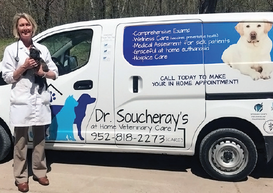 Sandra Soucheray in front of her van