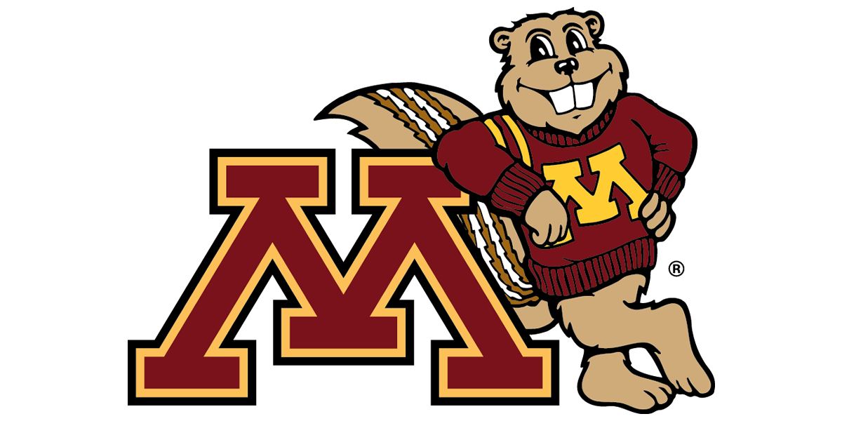 Goldy Gopher leaning on the block M from the University of Minnesota logo