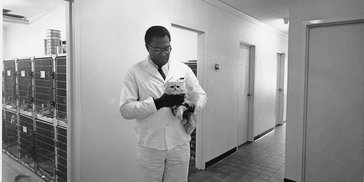 B. Robert Lewis with a cat
