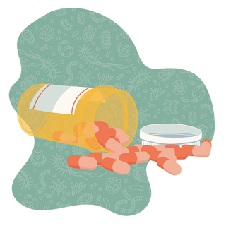 Illustration of a pill bottle tipped over with pills spilling out